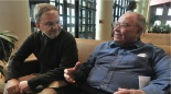 Paul Sweas chats with Don Ortberg on a recent Sunday morning.