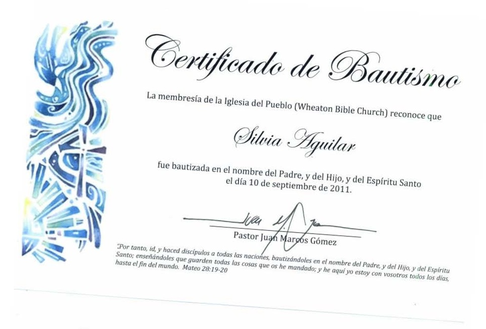 Certificado De Matrimonio Catolico : Certificado de bautismo cristiano
