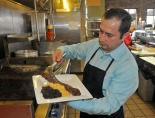 Martín cooks almost every day at one of the restaurants he owns and operates.