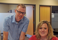 Phil Shields with Student Ministries administrative assistant Amanda McLaughlin.