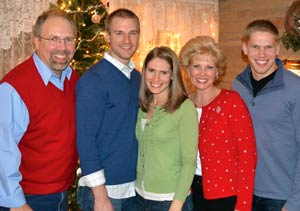 A recent photo of Mark's family, (left to right) Mark; Kristin's husband, Eric; Kristin; Sharon, and Todd.
