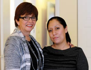 Puente del Pueblo Case Manager, Irene Owens, with Timber Lake resident Laura