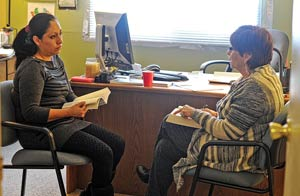 Laura and Irene meet for their weekly Thursday-afternoon Bible study.