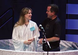 Tina at her Baptism, with Pastor Chris McElwee