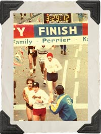 Keith Lindley, who introduced Jimmy to Christ, is an athlete in his own right. Shown here, in the red cap, crossing the finish line in the 1981 New York City Marathon.