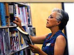 Nancy at work at the Addison Public Library