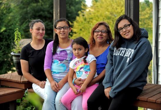 Left to right: Katrina Velasquez; Cristal, age 11; Bella, 4; Linda Oyervides; Alize, 15