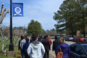 A tour of Hampton University, a private school the students visited