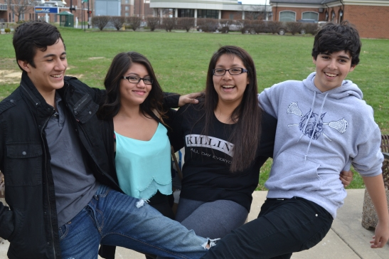 Victor, Itzel, Jakie, and Christopher—four of the six Puente del Pueblo students on the college tour