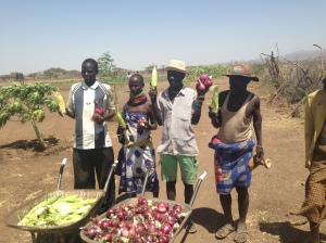 Turkana famers bring in a bountiful harvest at one of the first sites to gain water access and receive agricultural training.