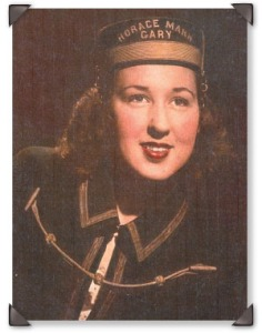 Pictured here in her senior year, Martha proudly wears the uniform of the Horace Mann High School Girl's Band.