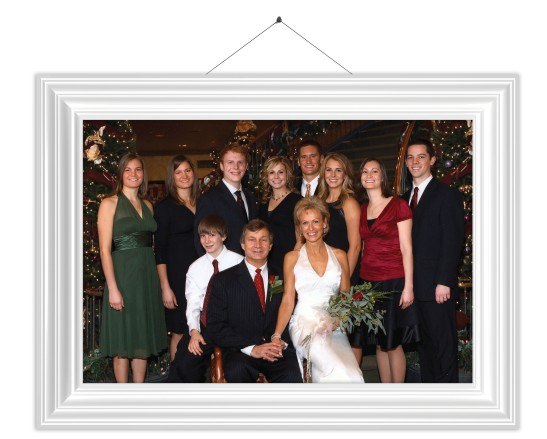 Rob and Rhonda Bugh at their 2007 wedding, surrounded by their newly blended family