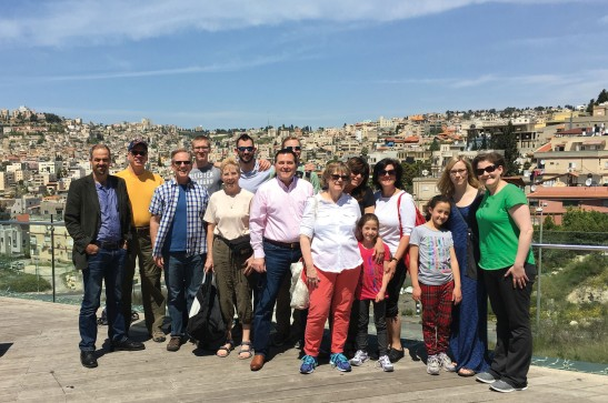The Israel GO Team gathers on a hillside overlooking Nazareth.